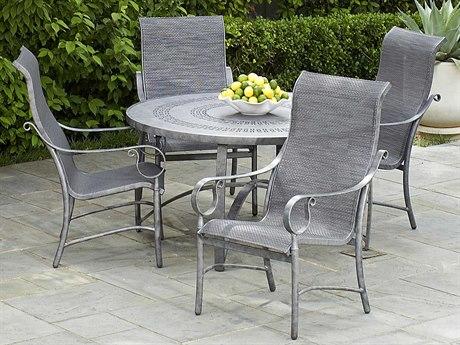 Woodard Ridgecrest Sling Aluminum 4 Person Sling Casual Patio Dining Set
