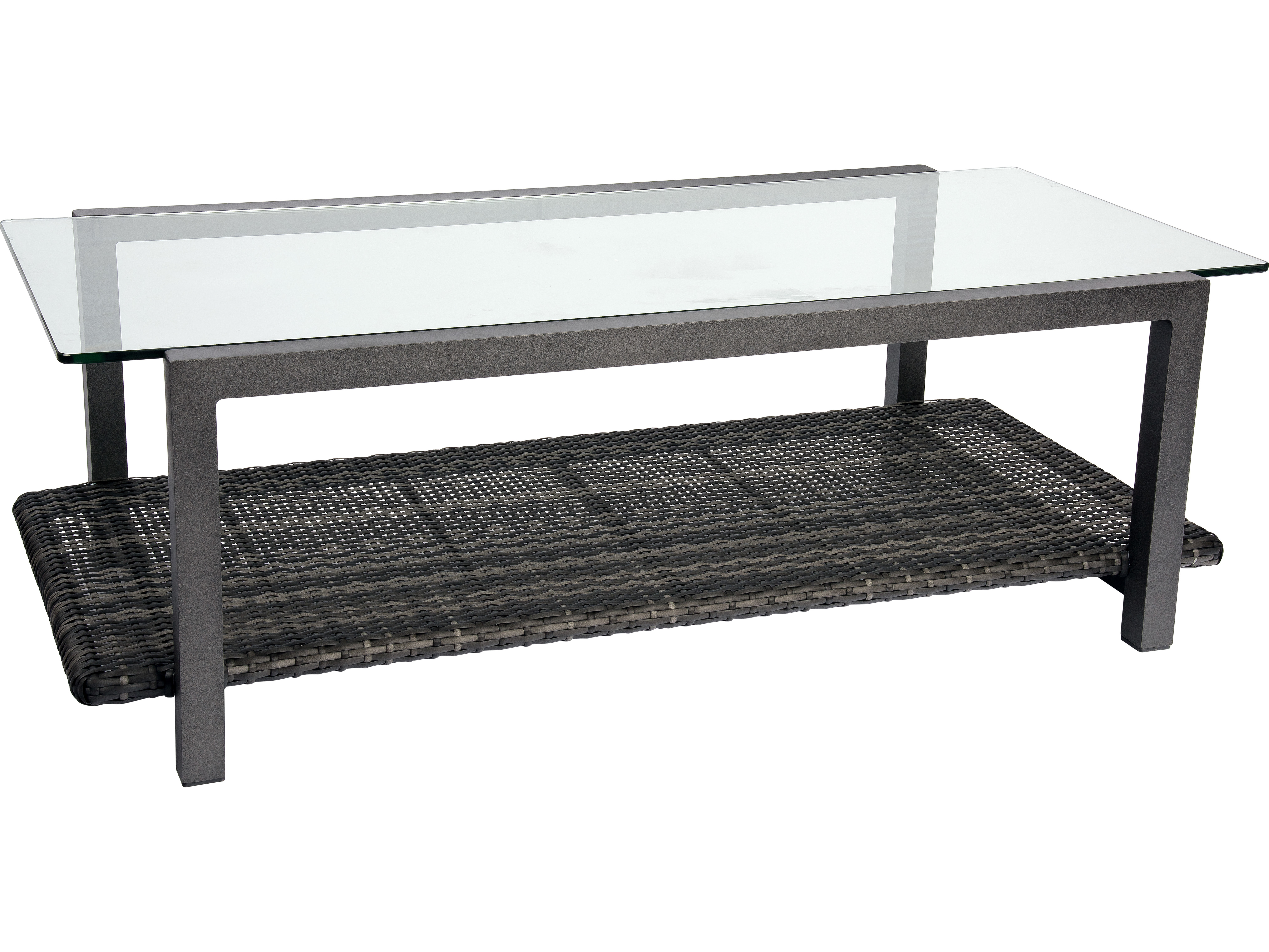 woodard canaveral wicker 48 x 24 rectangular coffee table with glass top s508211. Black Bedroom Furniture Sets. Home Design Ideas