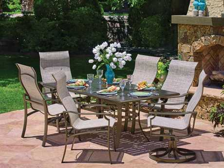 Winston Sloane Square Sling Cast Aluminum 6 Person Sling Casual Patio Dining Set