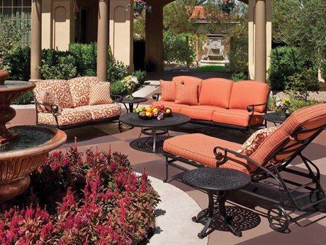 Winston Legacy Deep Seating Cast Aluminum 6 Person Cushion Conversation Patio Lounge Set