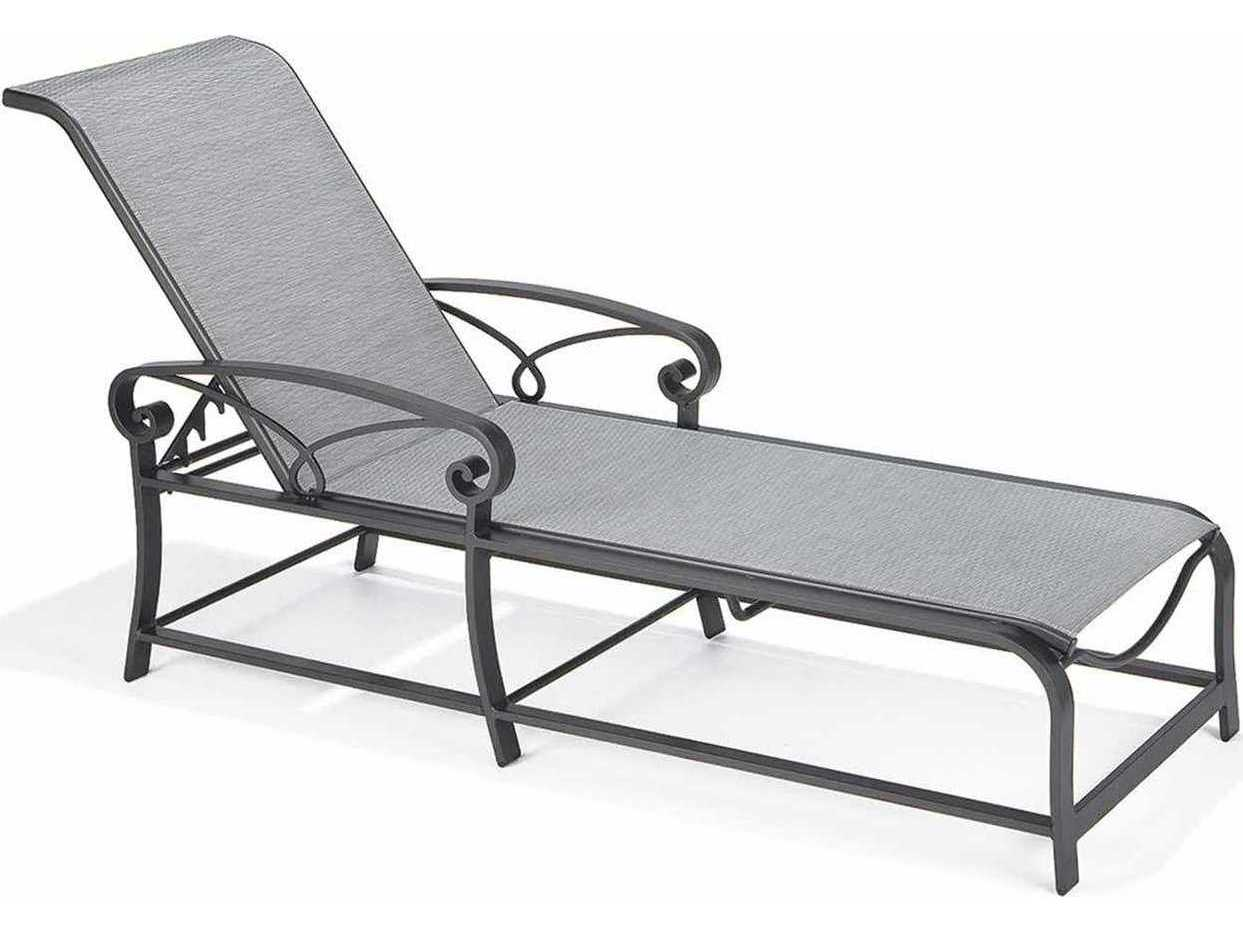 Winston palazzo sling cast aluminum arm chaise lounge m4309 for Cast aluminum chaise lounge