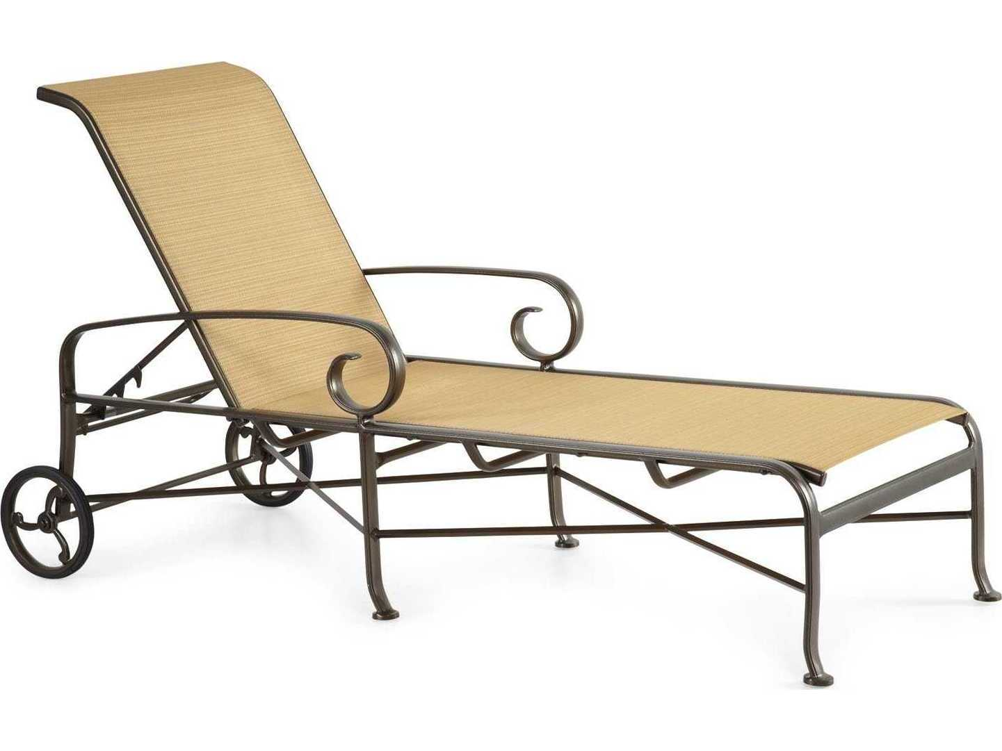 Winston veneto sling cast aluminum arm chaise lounge m55009 for Cast aluminum chaise lounge