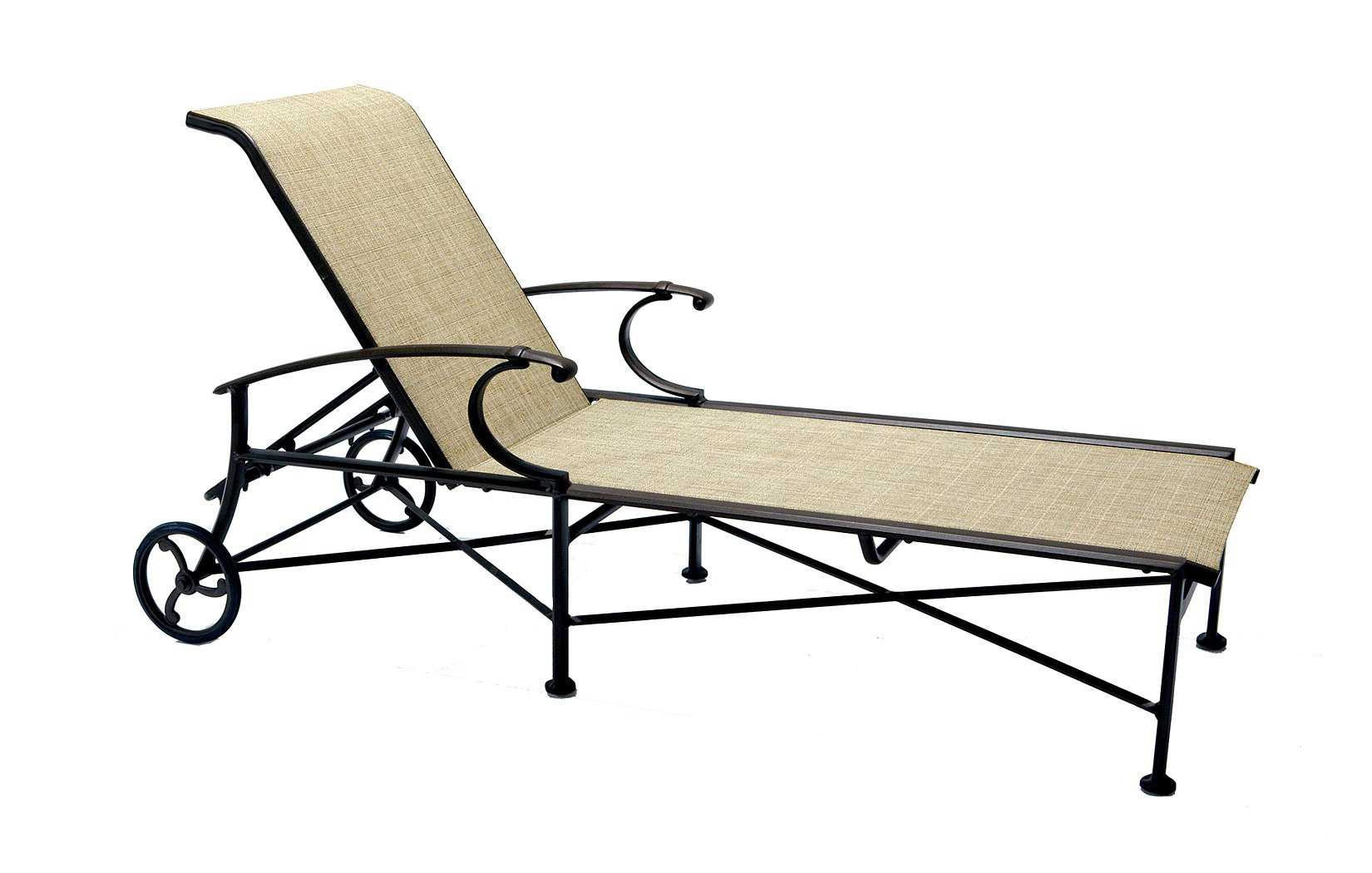 Winston charleston sling cast aluminum arm chaise lounge for Armed chaise lounge