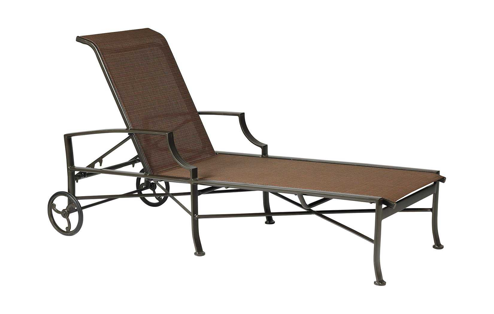 Winston exeter sling aluminum arm chaise lounge for Armed chaise lounge