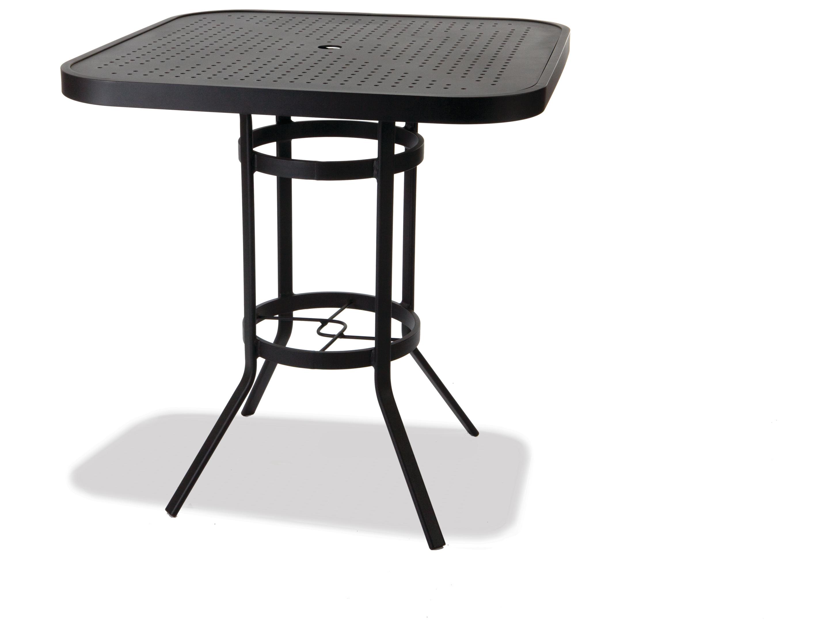 Winston stamped aluminum 36 39 39 square metal bar table with - Aluminium picnic table with umbrella ...