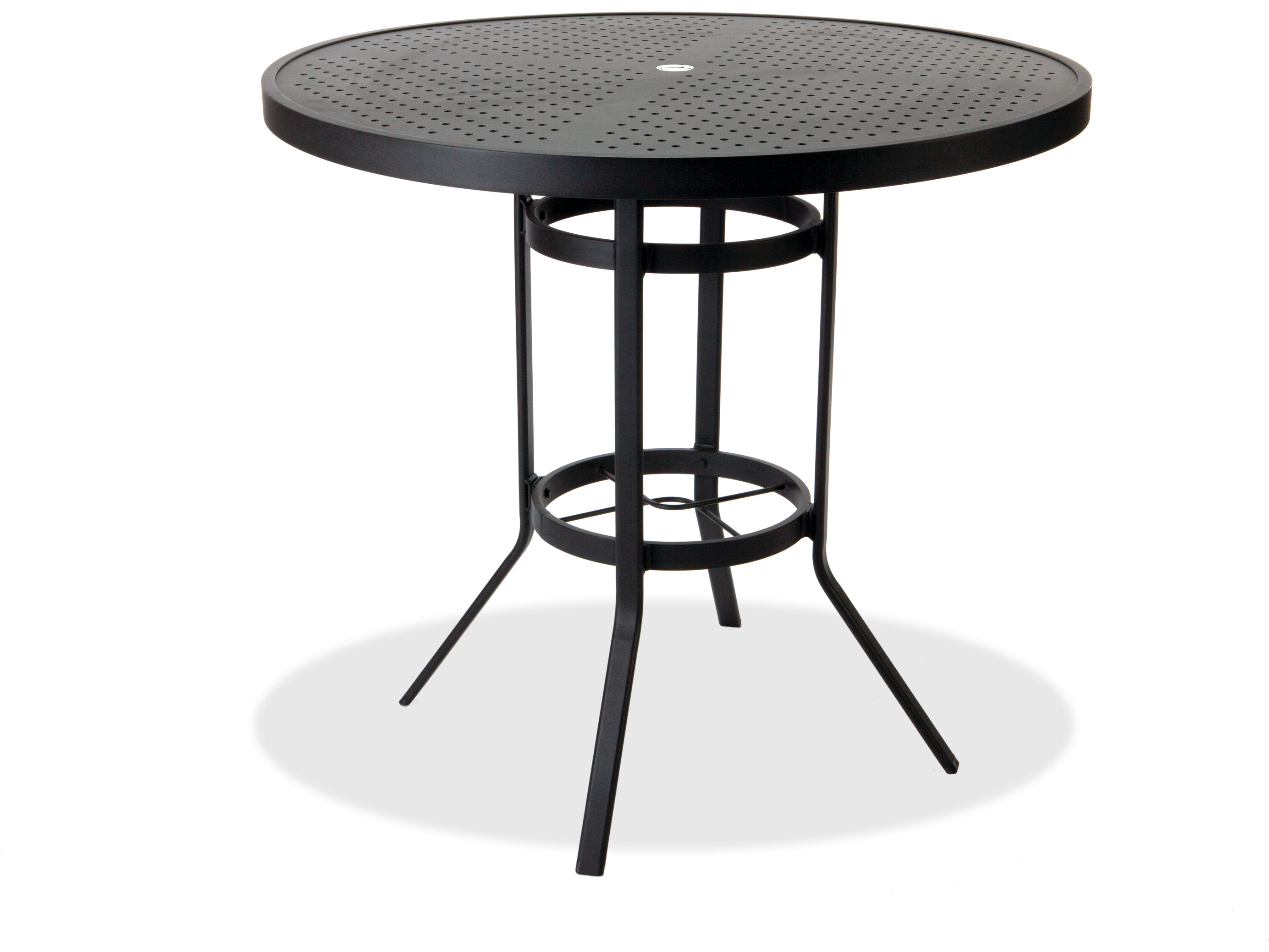 winston stamped aluminum 42 39 39 round metal bar table with umbrella hole m8142hstu. Black Bedroom Furniture Sets. Home Design Ideas