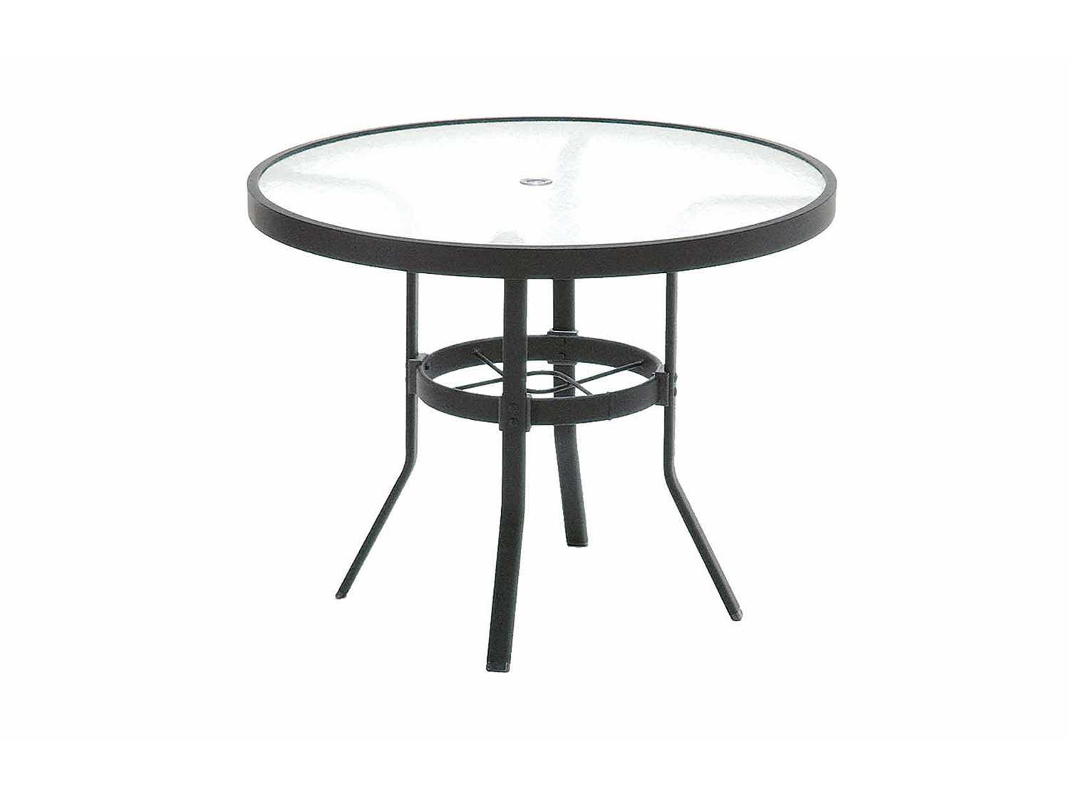 Winston Obscure Glass Aluminum 36 Round KD Cafe Table
