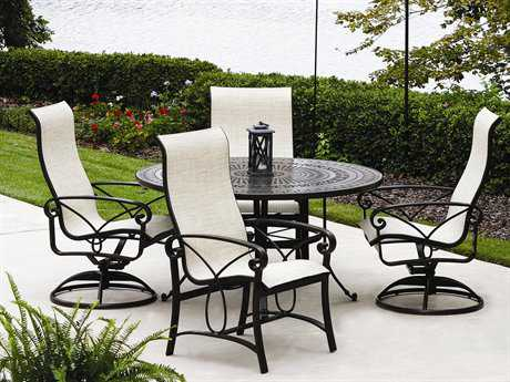 Winston Palazzo Sling Cast Aluminum 4 Person Sling Casual Patio Dining Set