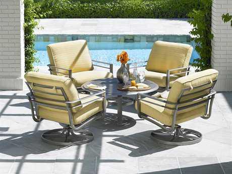 Winston Southern Cay Cushion Aluminum 4 Person Cushion Conversation Patio Lounge Set