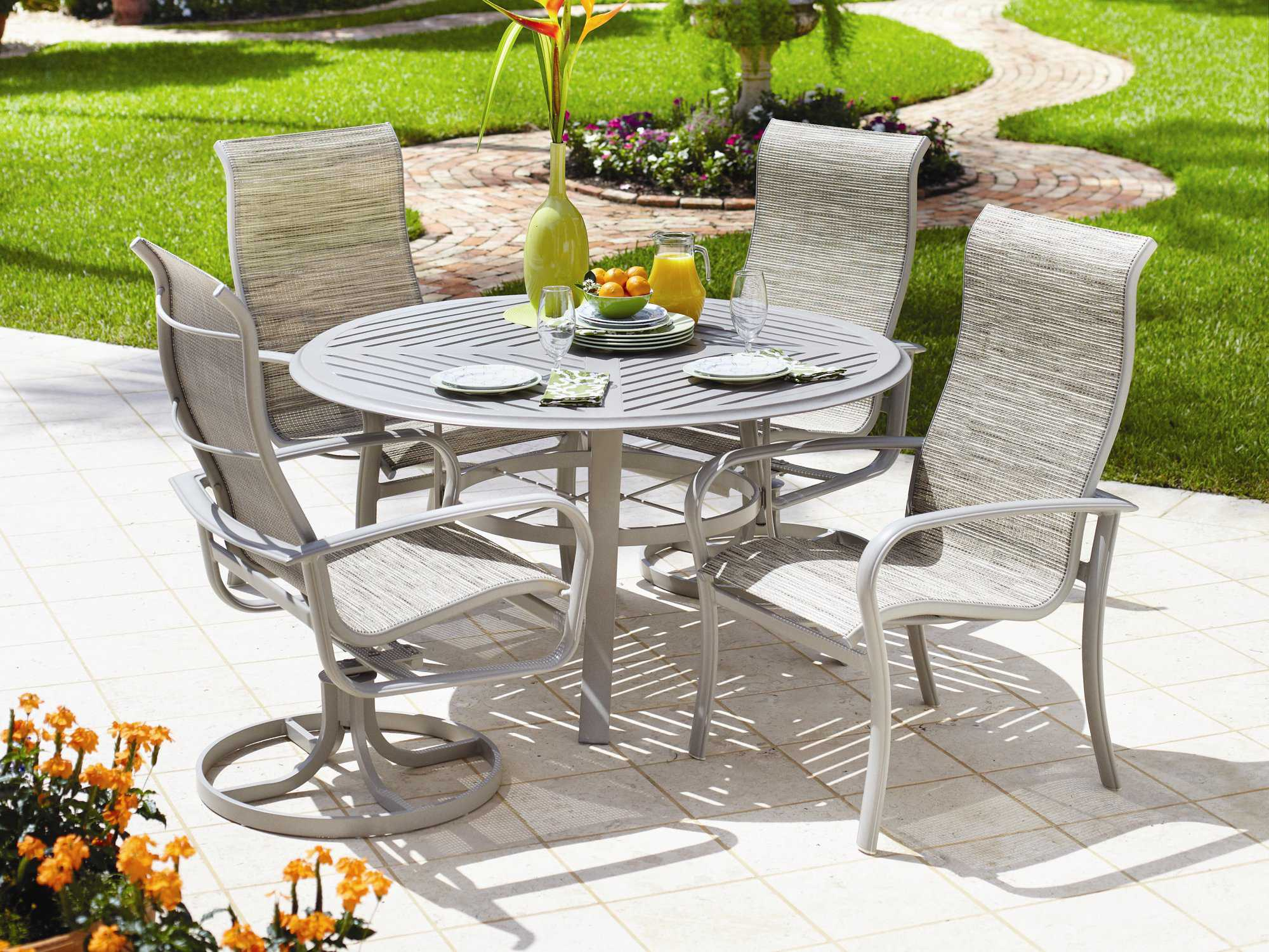 Winston Savoy Sling Aluminum Ultimate High Back Arm Dining Chair