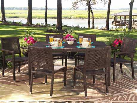 Woodard Whitecraft All Weather Dining Wicker 6 Person Wicker Casual Patio Dining Set