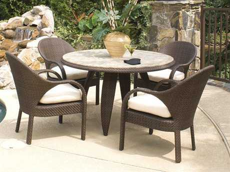 Woodard Whitecraft Bali Wicker 4 Person Cushion Casual Patio Dining Set