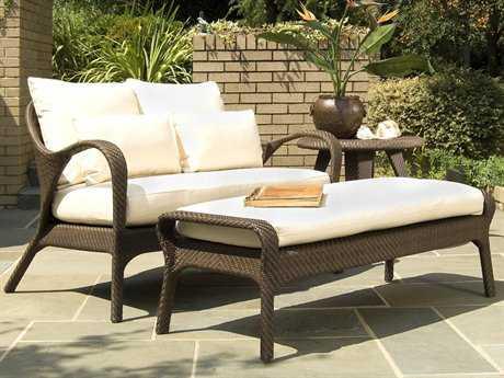 Woodard Whitecraft Bali Wicker 2 Person Cushion Conversation Patio Lounge Set