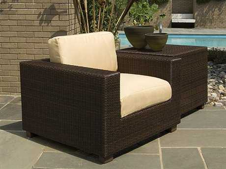 Woodard Whitecraft Montecito Wicker 1 Person Cushion Conversation Patio Lounge Set