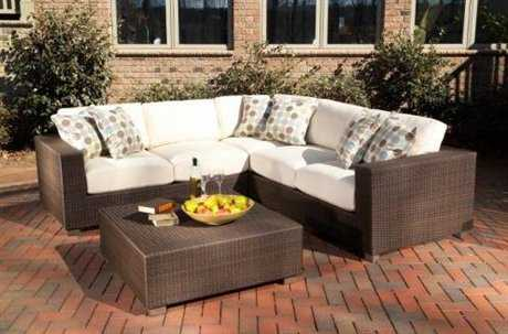 Woodard Whitecraft Montecito Wicker 4 Person Cushion Sectional Patio Lounge Set