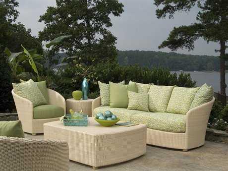 Woodard Whitecraft Oasis Wicker 4 Person Cushion Conversation Patio Lounge Set