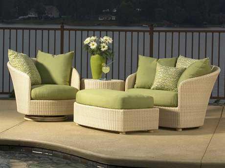 Woodard Whitecraft Oasis Wicker 3 Person Cushion Conversation Patio Lounge Set