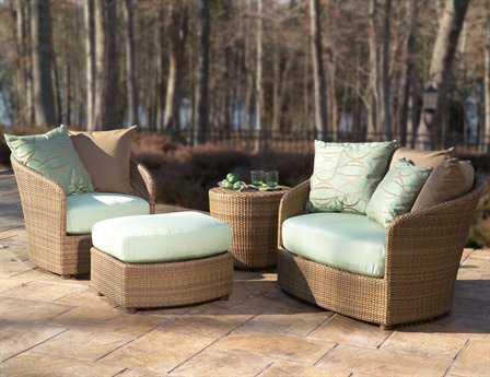 Woodard Whitecraft Oasis Wicker 3 Person Cushion Conversation Patio Lounge Set