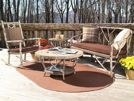 Woodard Whitecraft River Run Wicker 4 Person Cushion Conversation Patio Lounge Set