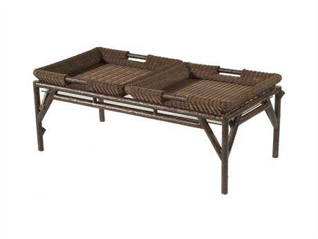 Whitecraft Chatham Run Wicker 48 x 24 Rectangular Glass Top Coffee Table with Trays