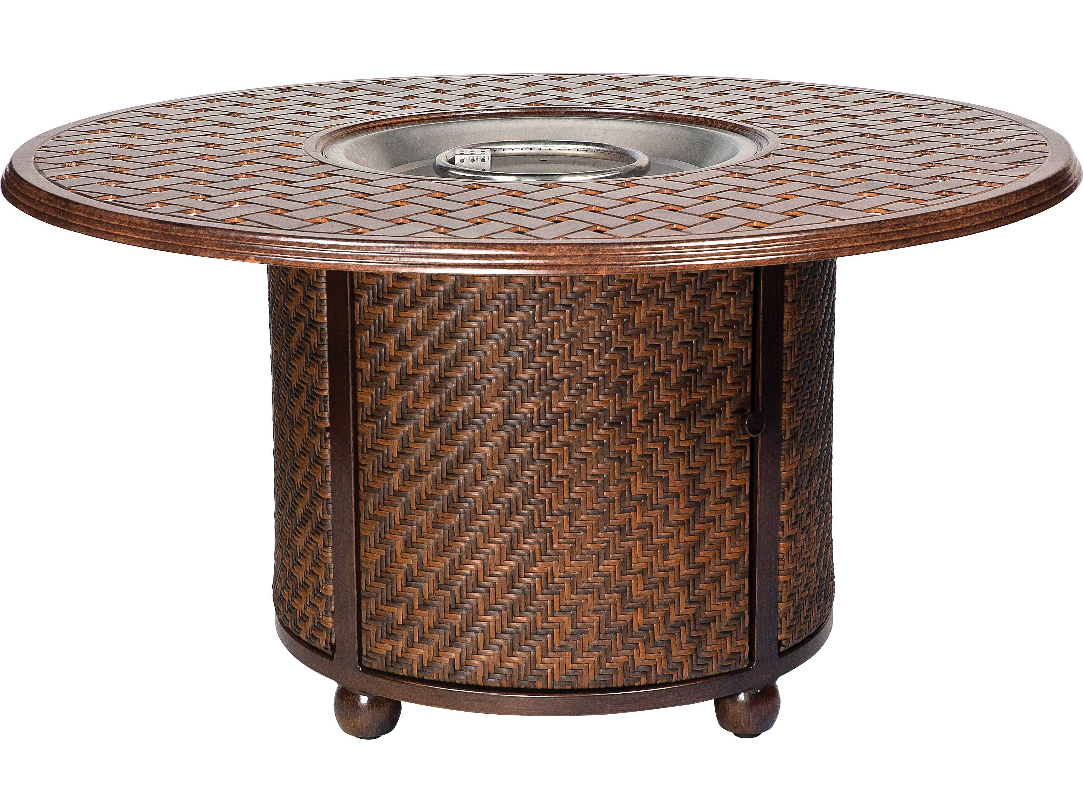 Small Round Rattan Table Outdoor Patio Fire Pit Tables Patioliving