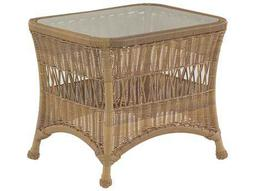 Whitecraft Sommerwind Wicker 27 x 22 Rectangular Glass Top End Table
