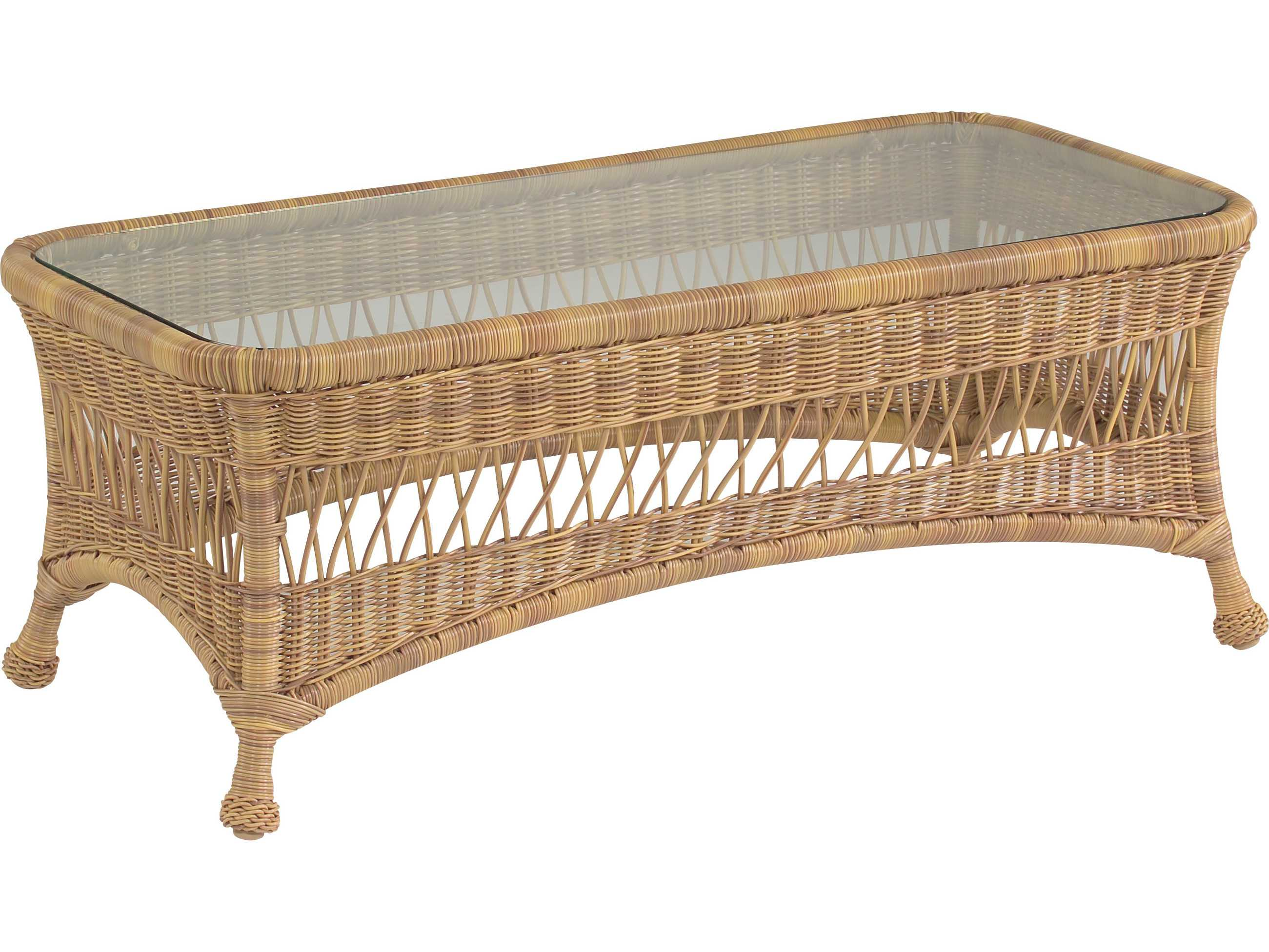 Whitecraft sommerwind wicker 44 x 21 rectangular glass top for Rectangular coffee table with glass top
