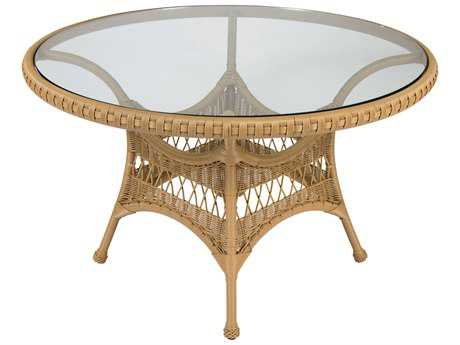 Whitecraft Sommerwind Wicker 48 Round Glass Top Dining Table