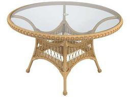 Whitecraft Sommerwind Wicker 48 Round Glass Top Table with Umbrella Hole