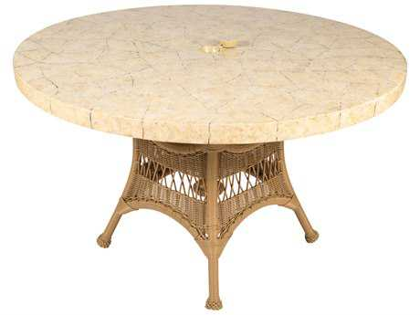 Whitecraft Sommerwind Wicker 48 Round Stone Top Table with Umbrella Hole
