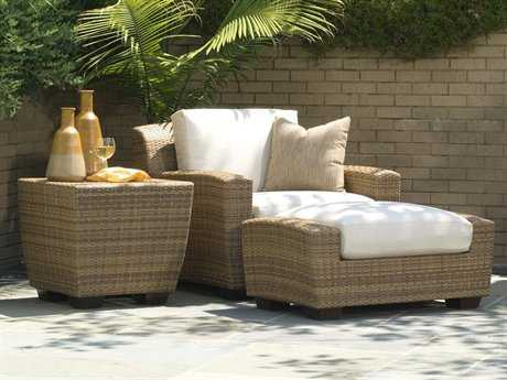 Woodard Whitecraft Saddleback Wicker 1 Person Cushion Conversation Patio Lounge Set