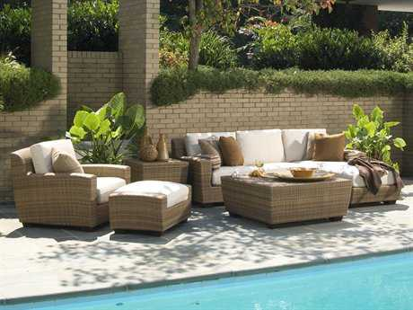 Woodard Whitecraft Saddleback Wicker 4 Person Cushion Conversation Patio Lounge Set