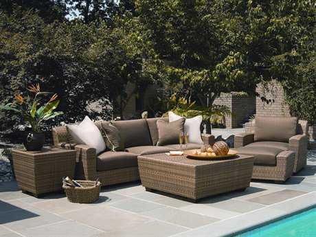 Woodard Whitecraft Saddleback Wicker 4 Person Cushion Sectional Patio Lounge Set