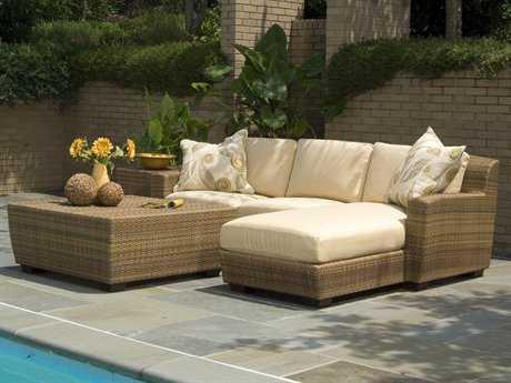 Woodard Whitecraft Saddleback Wicker 3 Person Cushion Sectional Patio Lounge Set