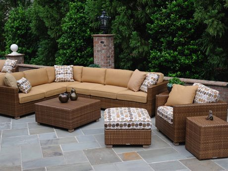 Woodard Whitecraft Sedona All Weather Wicker 6 Person Cushion Sectional Patio Lounge Set
