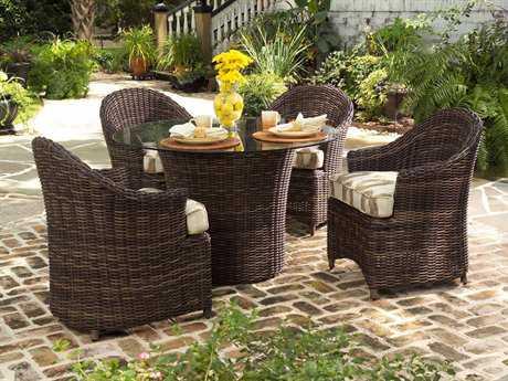 Woodard Whitecraft Sonoma Wicker 4 Person Cushion Casual Patio Dining Set