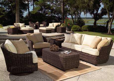 Woodard Whitecraft Sonoma Wicker 5 Person Cushion Conversation Patio Lounge Set