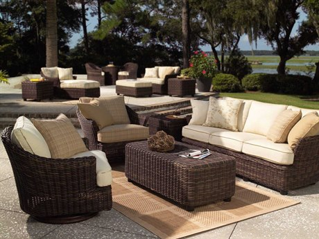 Woodard Whitecraft Sonoma Wicker 2 Person Cushion Conversation Patio Lounge Set