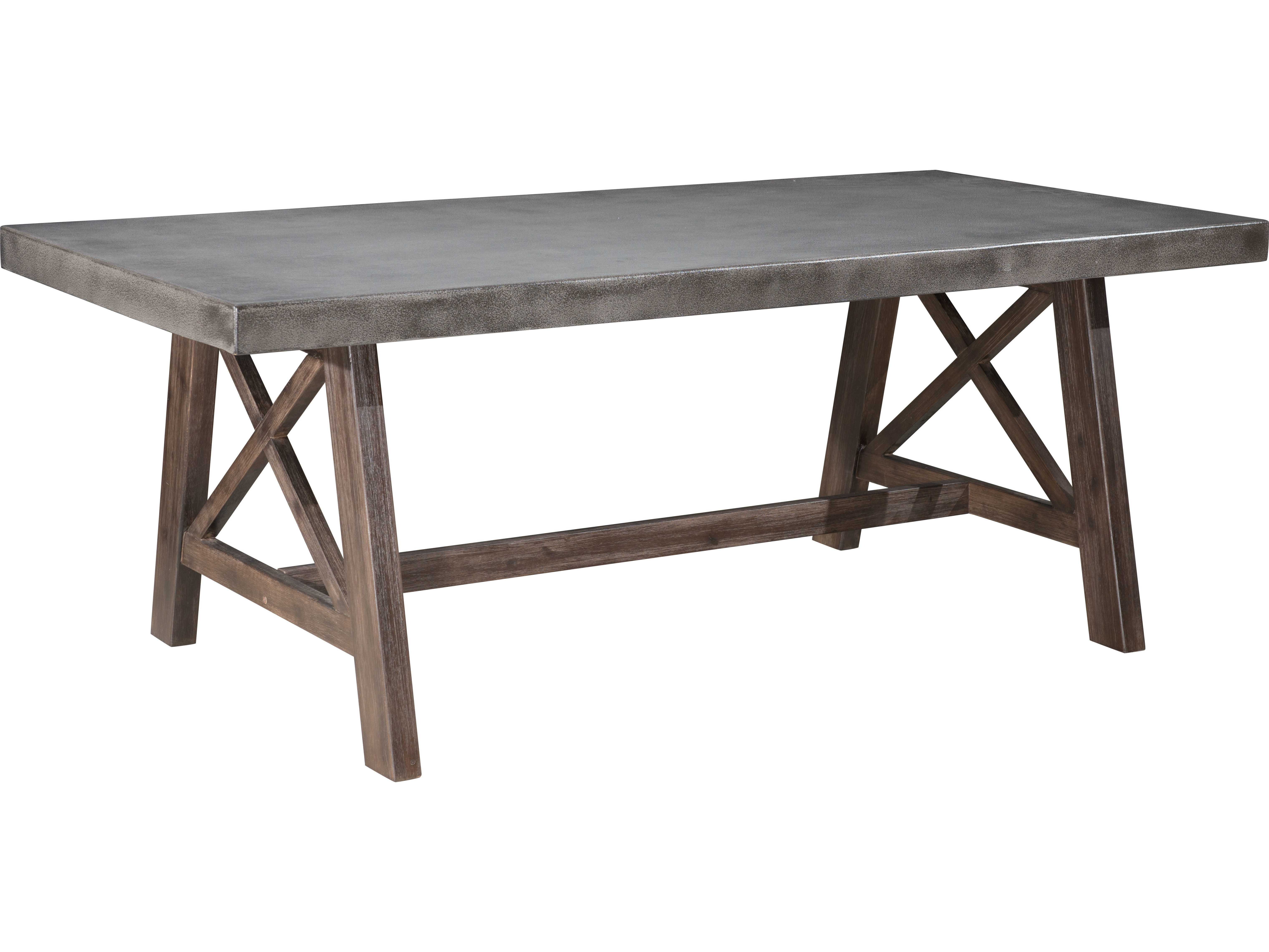 zuo outdoor ford wood x rectangular dining table in cement natural 703594. Black Bedroom Furniture Sets. Home Design Ideas