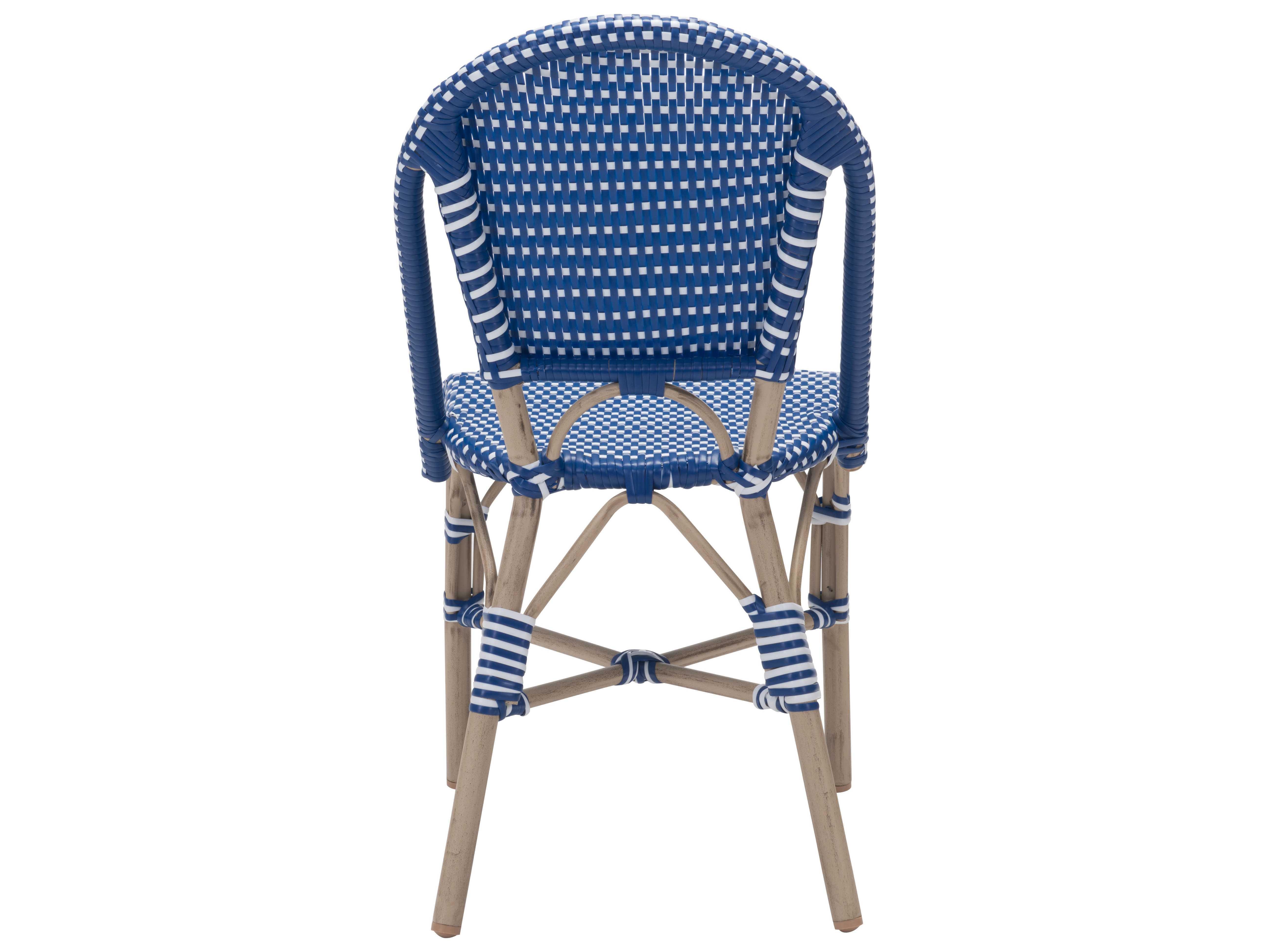 Zuo Outdoor Paris Aluminum Wicker Dining Chair In Navy