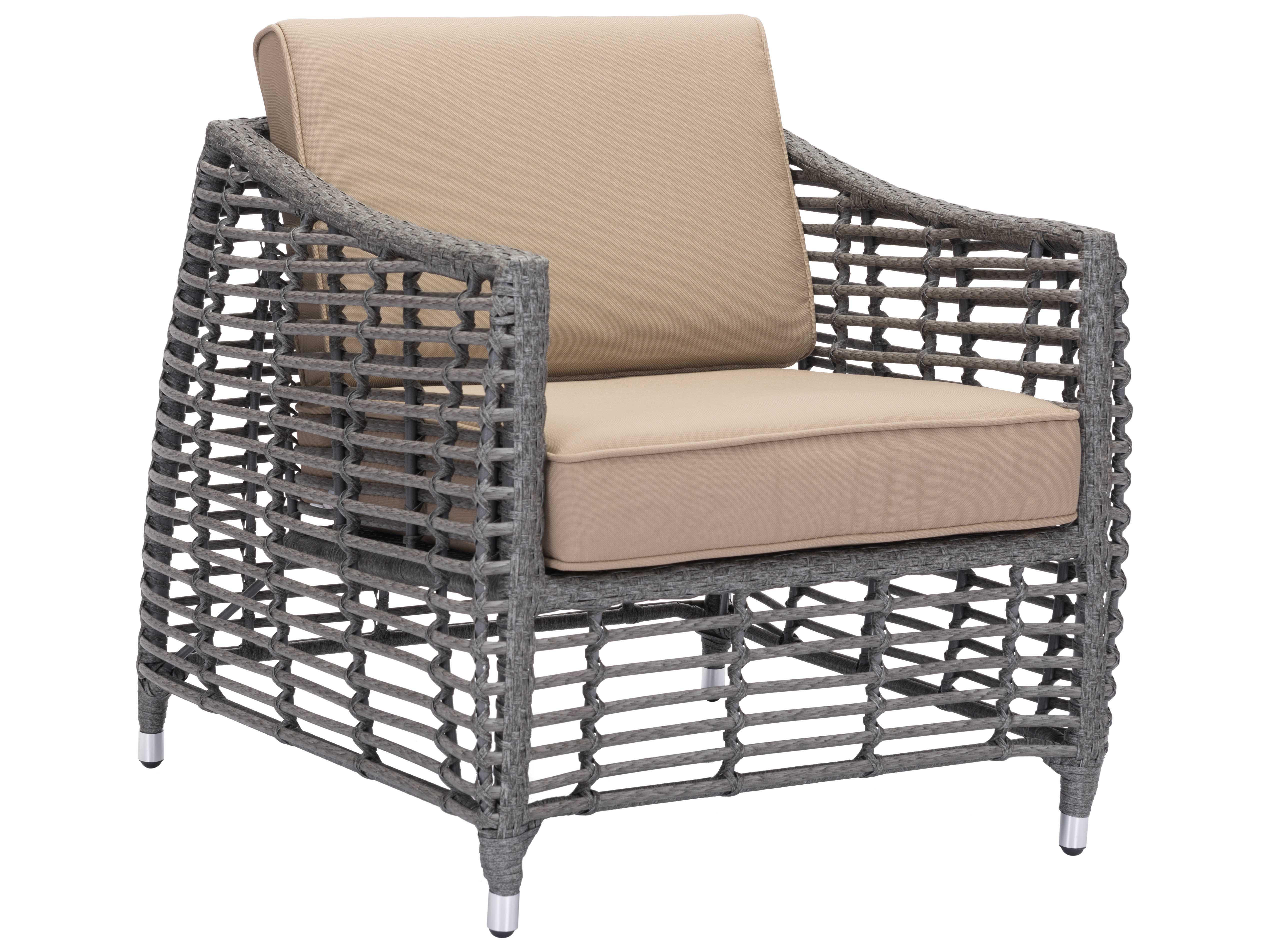 Zuo Outdoor Trek Beach Aluminum Wicker Arm Chair In Gray