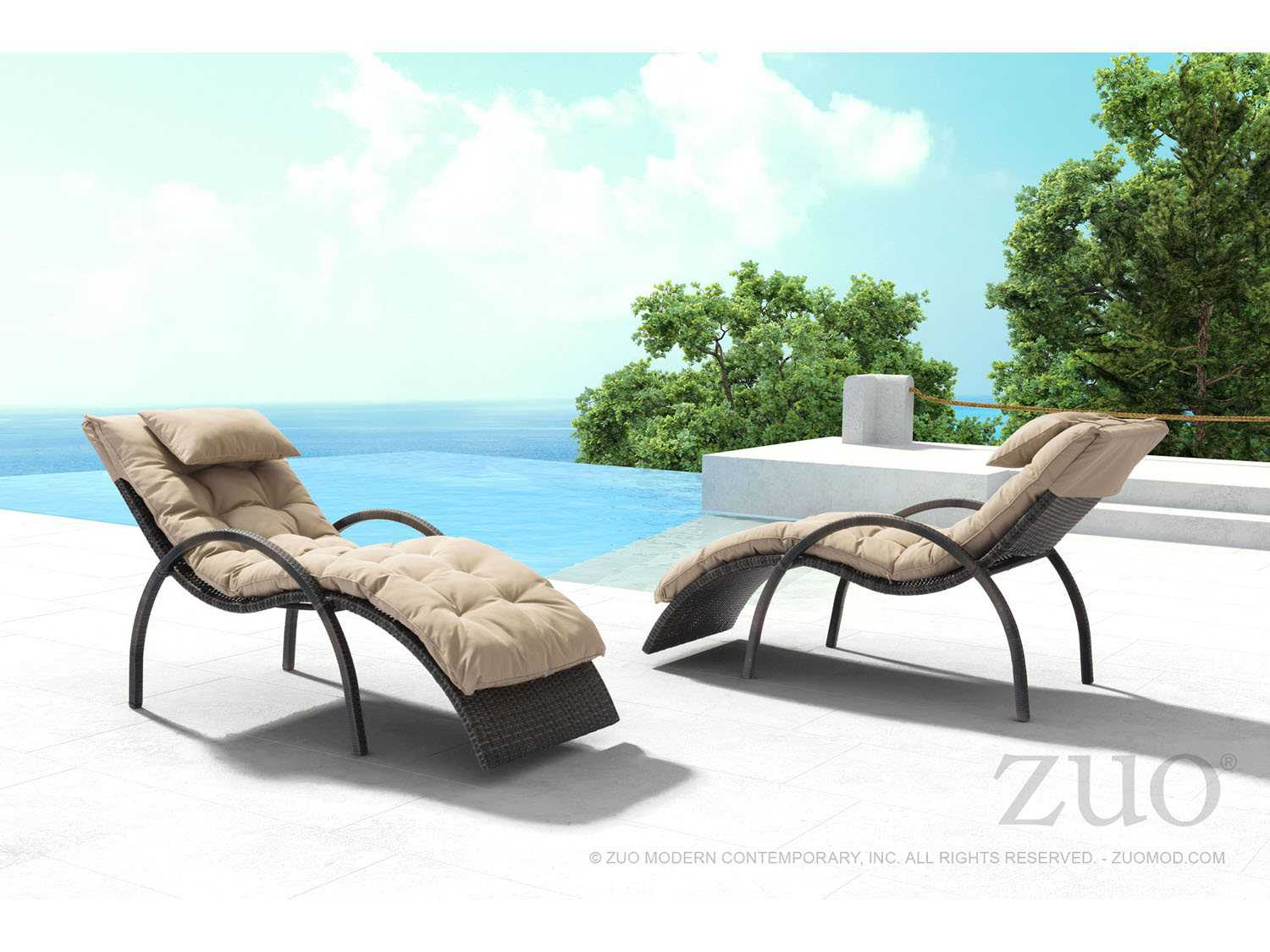 Zuo outdoor eggertz beach aluminum wicker beach chaise for Beach lounge chaise