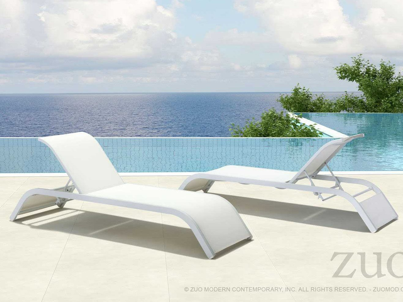 Zuo outdoor sun beach aluminum mesh chaise lounge set for Breezy beach chaise