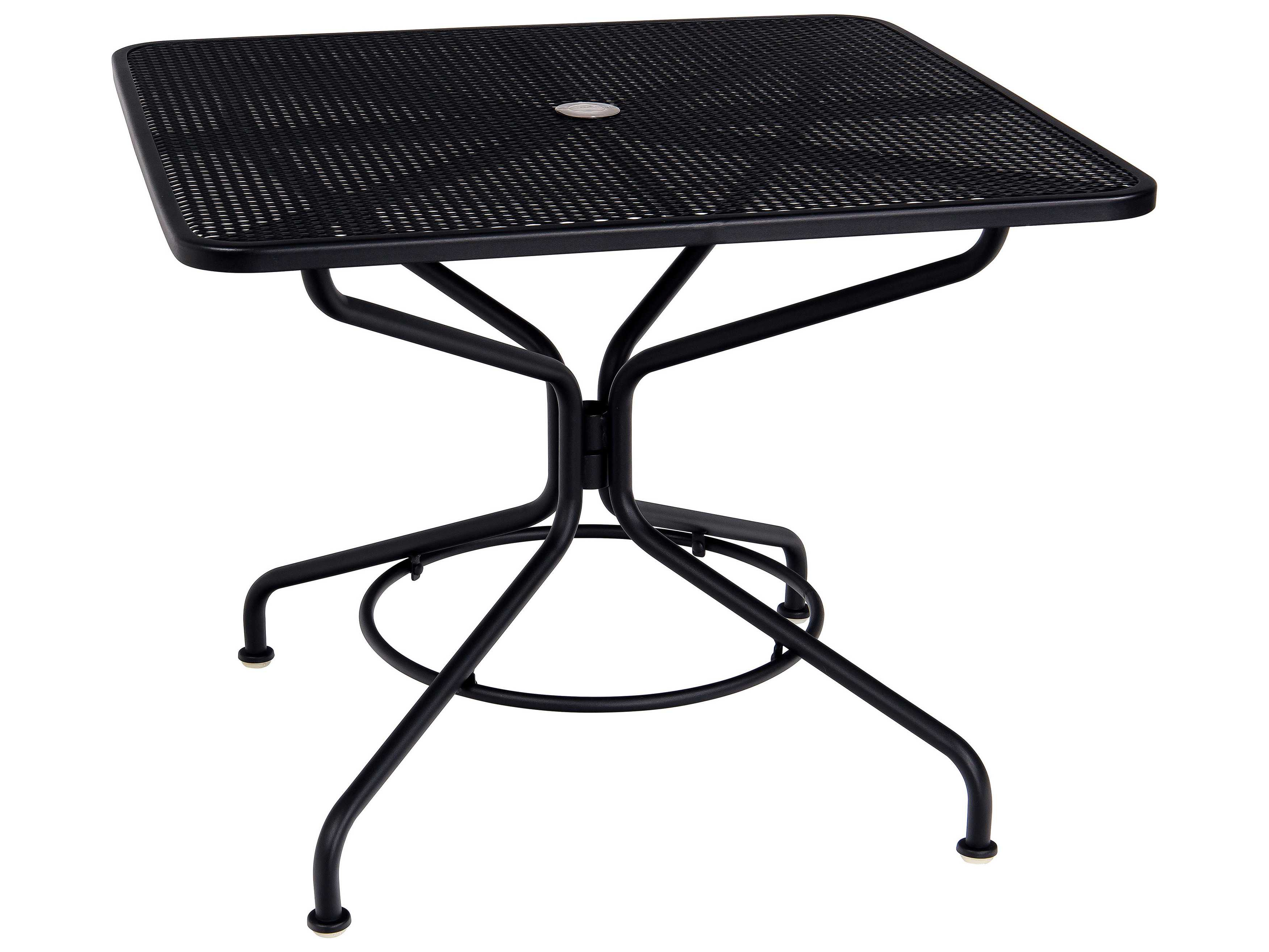 Woodard Mesh Wrought Iron 36 Square Table With Umbrella