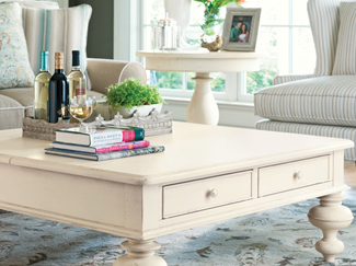 Coffee tables help anchor your living room with function and style. Learn more about coffee table styles, features, and measurements.