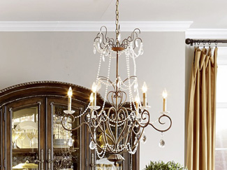 A statement lighting fixture for centuries, chandeliers bring general illumination and decoration. Learn more about chandelier parts, placement, and types.