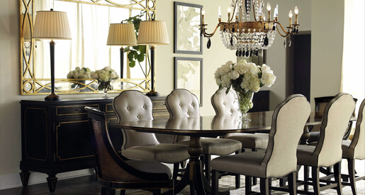 This new year, show a little love to your dining space. Refresh your dining room with four distinct looks where dazzling style is always on the menu.