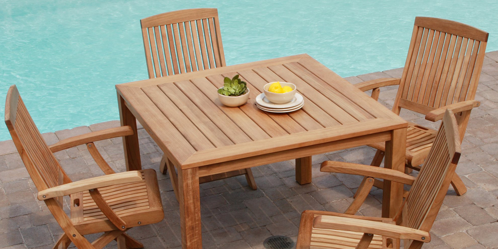 Teak Patio Furniture Buying Guide PatioLiving - Teak patio table with leaf