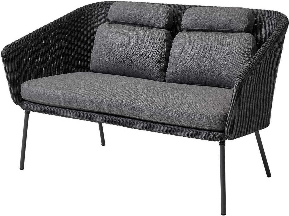 Cane Line Outdoor Mega Graphite Aluminum Wicker Cushion Bench