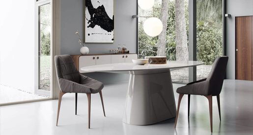 Modern dining rooms lush with natural materials and organic colors — with a renewed focus on family intimacy and togetherness -- are expected to rule 2021.